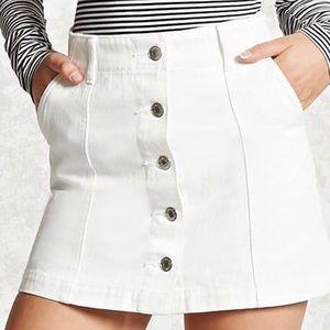 white denim button down skirt from forever 21